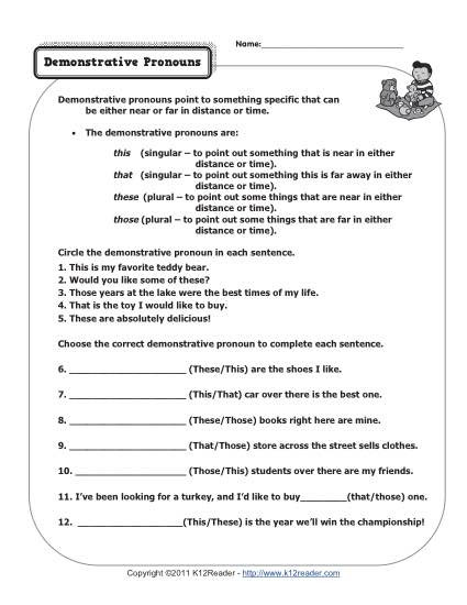 2nd Grade Pronoun Worksheets Demonstrative Pronouns