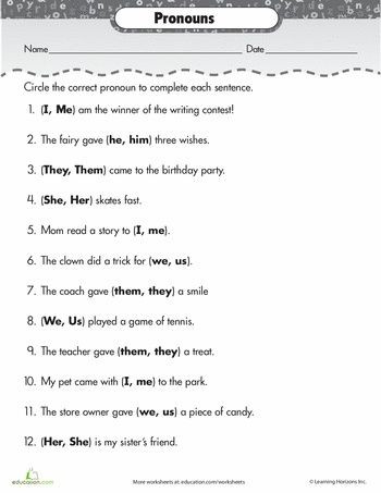 2nd Grade Pronoun Worksheets Paper Sentence for Class 1