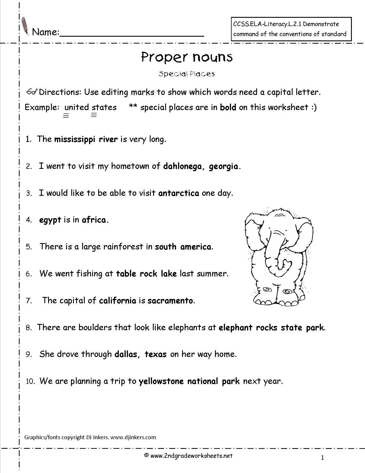 2nd Grade Proper Nouns Worksheet Mon Noun and Proper Noun Worksheet for Grade 4