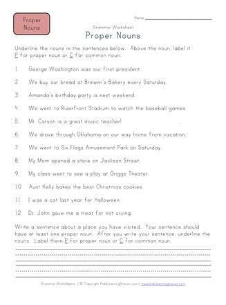 2nd Grade Proper Nouns Worksheet Proper Nouns Worksheet