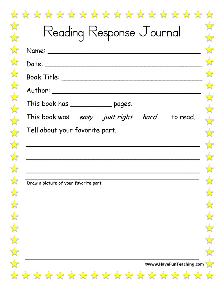 2nd Grade Reading Response Worksheets Reading Response Journal