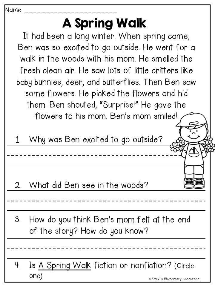 2nd Grade Reading Response Worksheets Spring Fling Writing & Literacy Activities