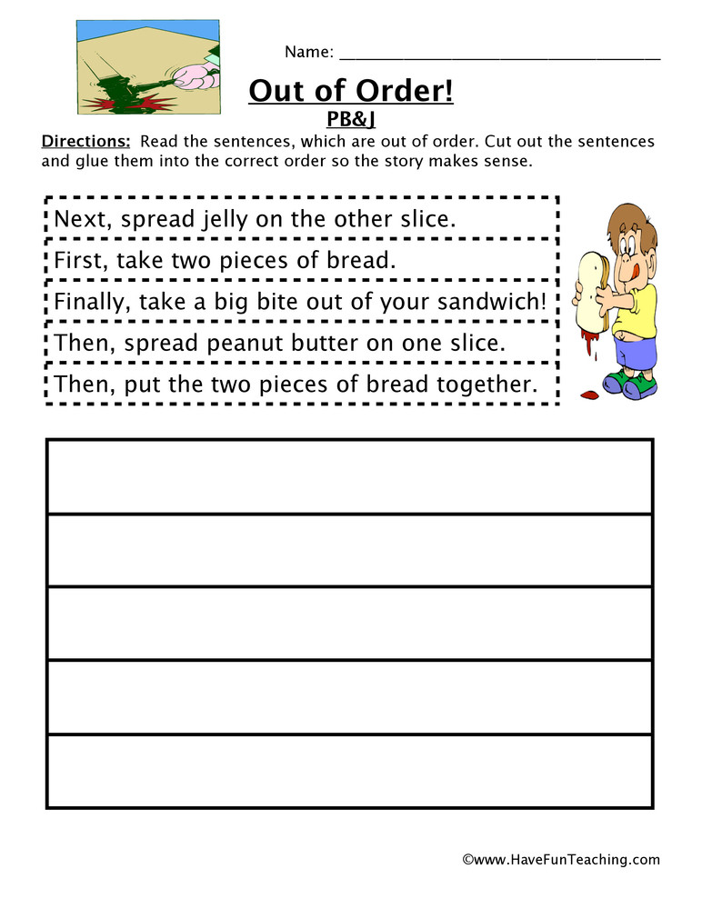2nd Grade Sequencing Worksheets Making A Sandwich Sequencing Worksheet
