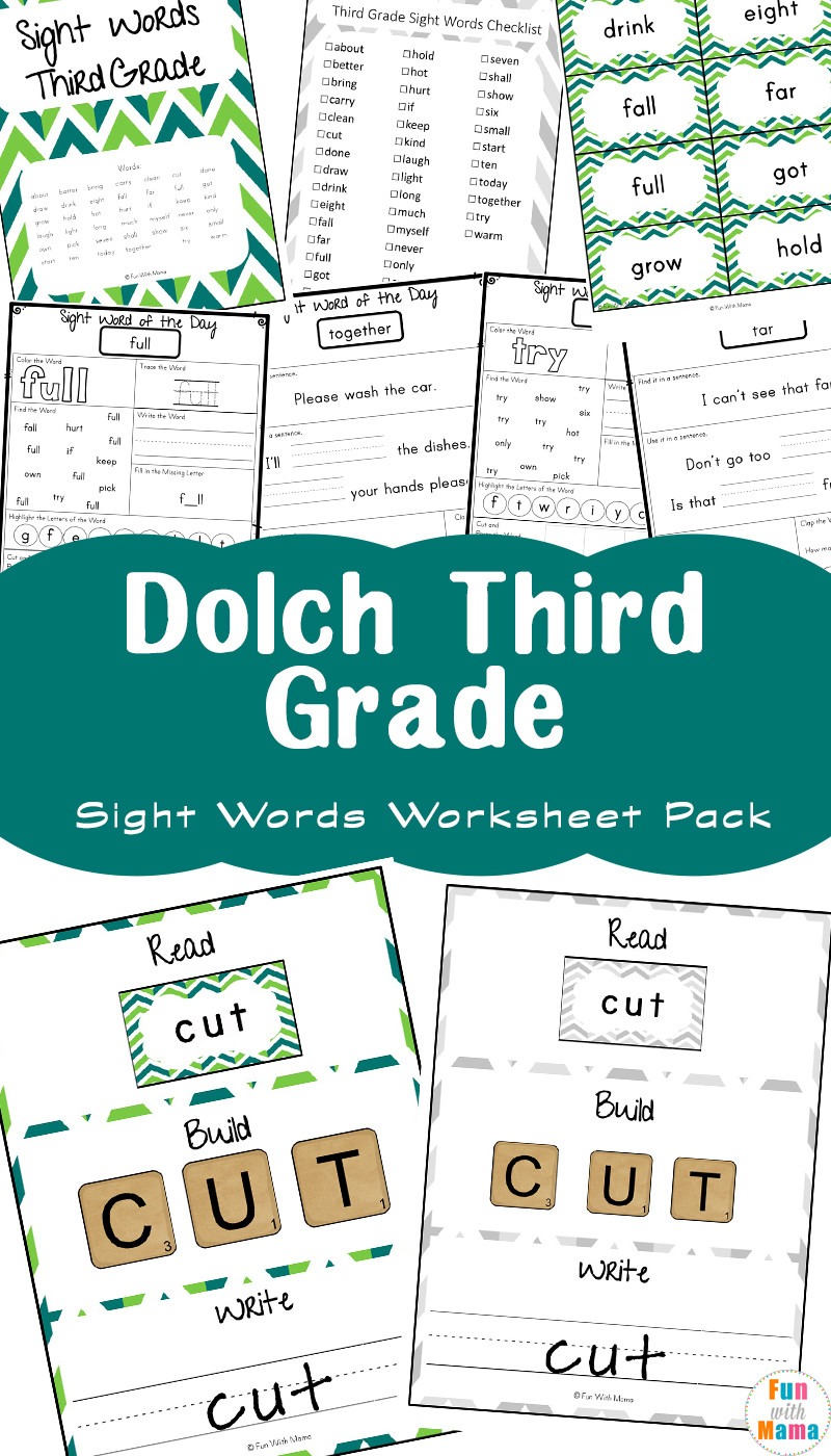2nd Grade Sight Word Worksheets Free Dolch Third Grade Sight Words Worksheets Fun with Mama