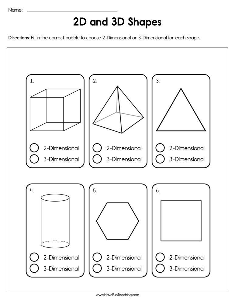 3d Shapes Worksheet for Kindergarten 2d and 3d Shapes Worksheet