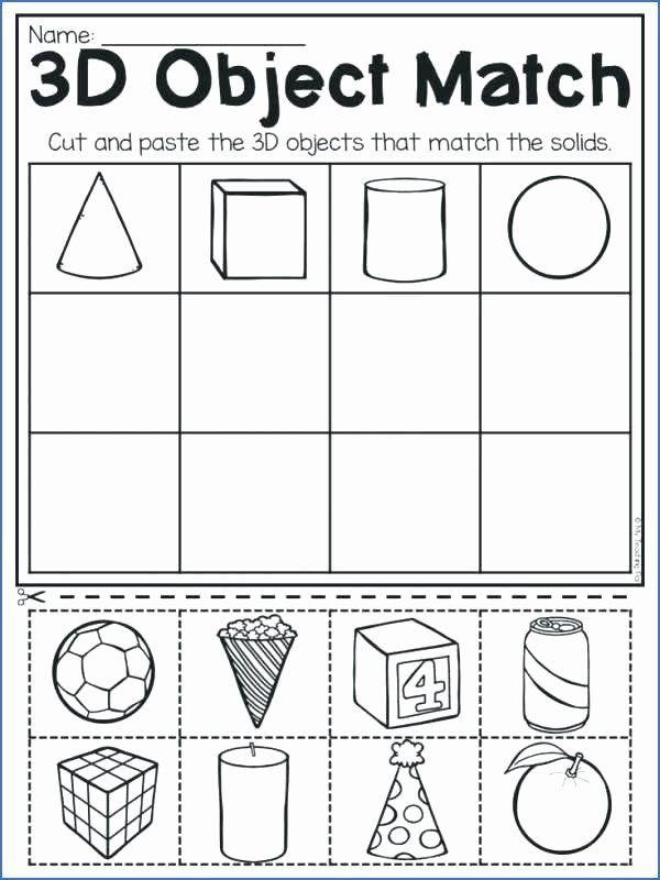3d Shapes Worksheet for Kindergarten 3d Shapes Worksheet Kindergarten Shapes Worksheets for