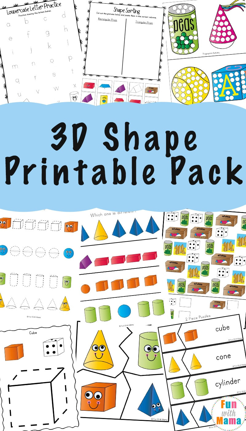 3d Shapes Worksheet Kindergarten 3d Shape Worksheets Fun with Mama