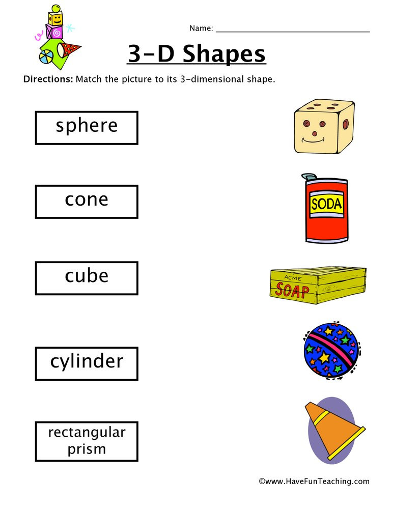 3d Shapes Worksheet Kindergarten 3d Shapes Worksheet