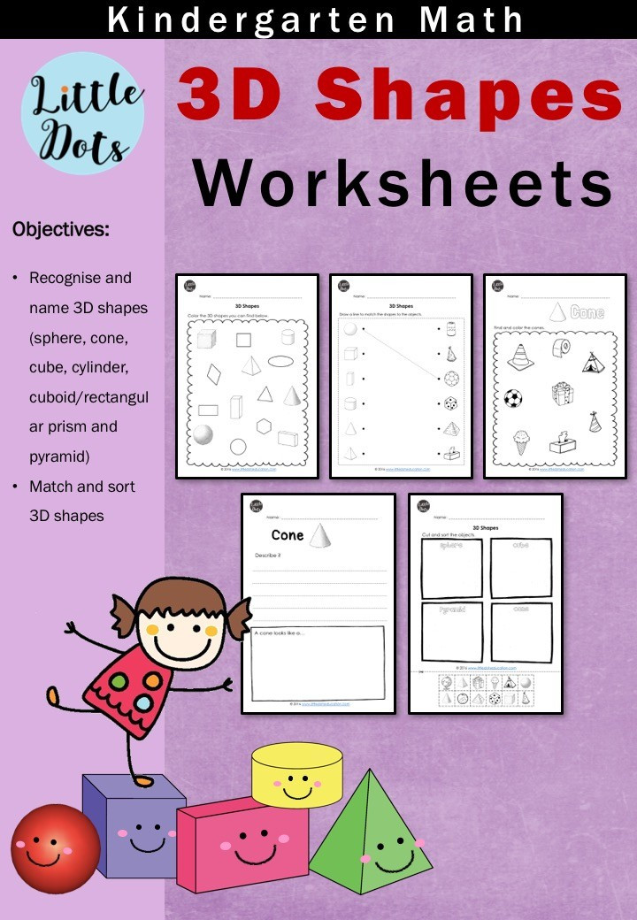 3d Shapes Worksheet Kindergarten 3d solid Shapes Worksheets for Kindergarten