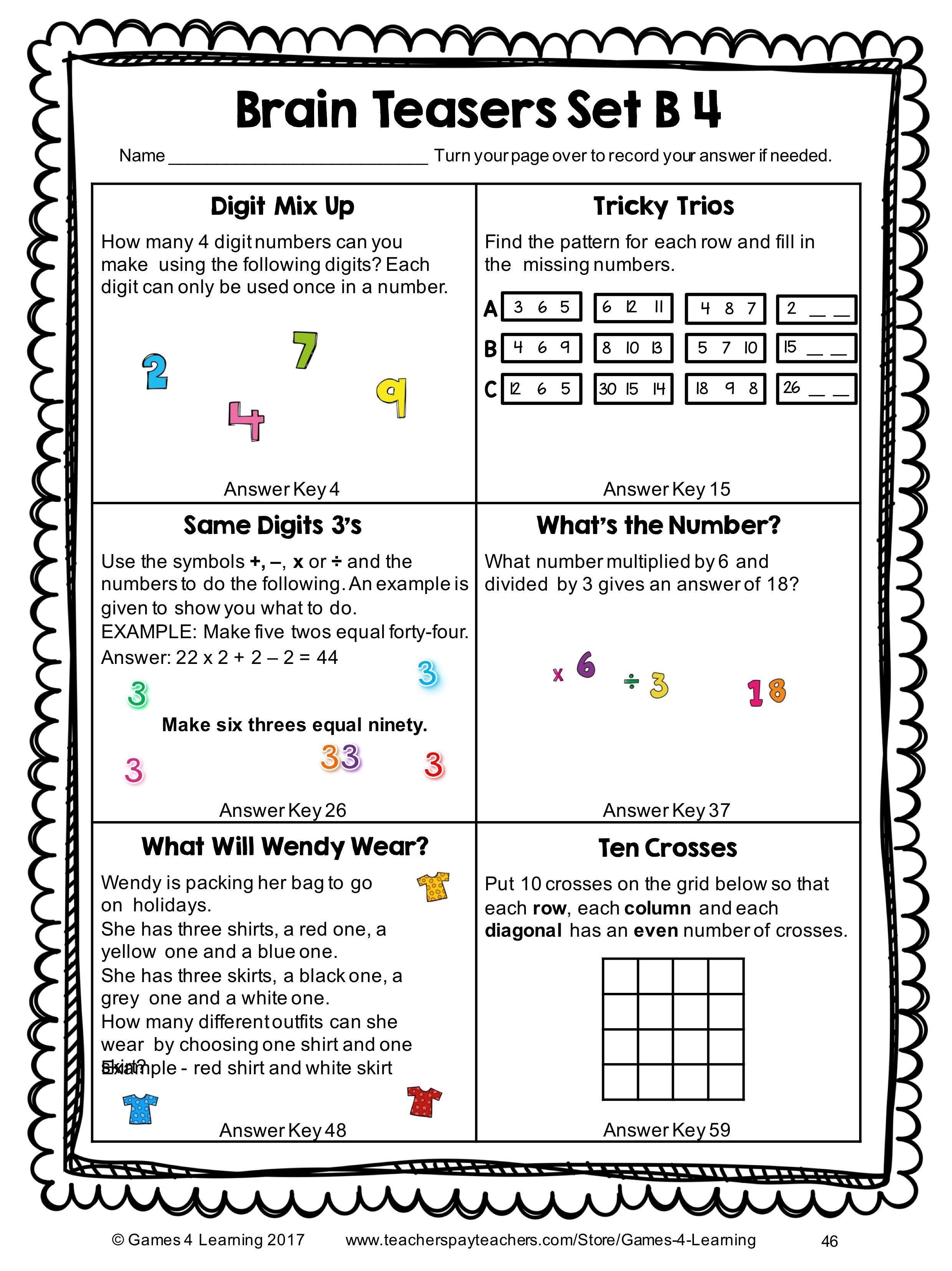3rd Grade Brain Teasers Printable Brain Teaser Worksheets for Kids