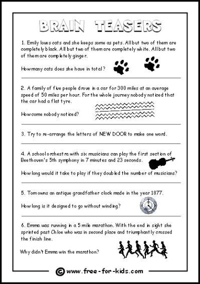 3rd Grade Brain Teasers Printable Brain Teasers for Kids with Answers