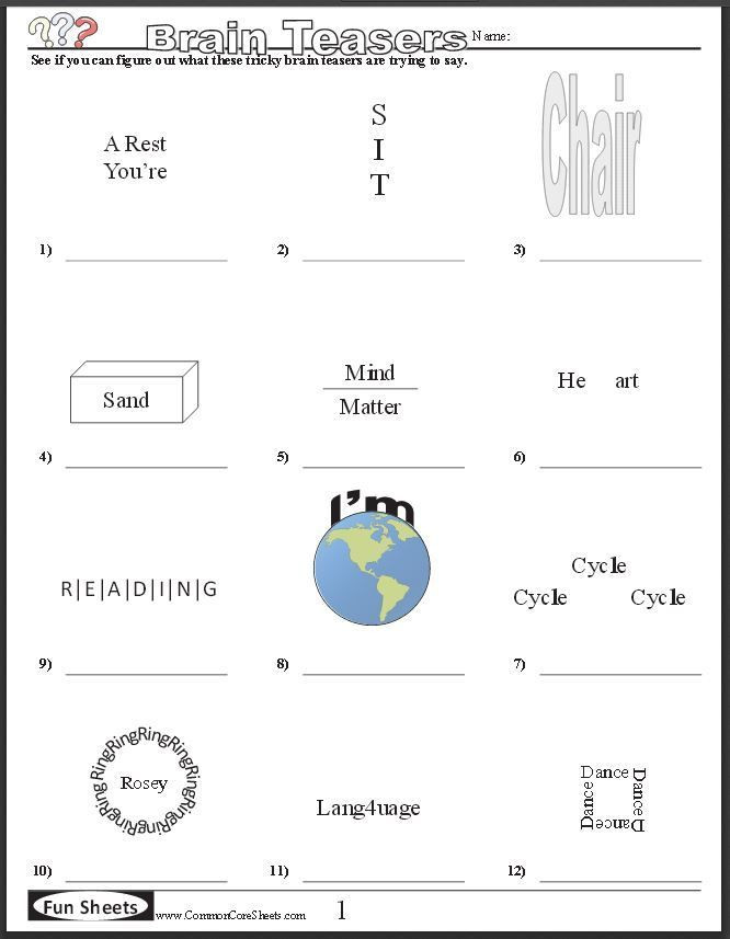 3rd Grade Brain Teasers Printable Free Brain Teaser Printables Four Free Worksheets that Will