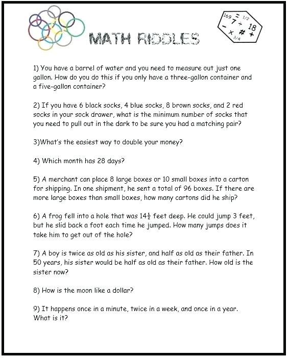 3rd Grade Brain Teasers Worksheets 5th Grade Math Brain Teasers Grade Math Brain Teasers
