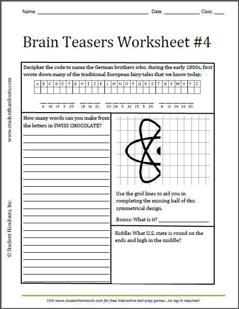 3rd Grade Brain Teasers Worksheets Brain Teasers Brain Teasers Grade 3