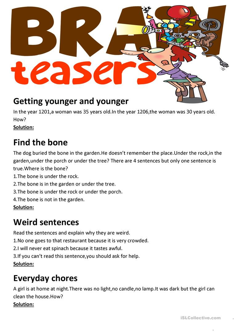 3rd Grade Brain Teasers Worksheets Brain Teasers with Answer Key English Esl Worksheets for