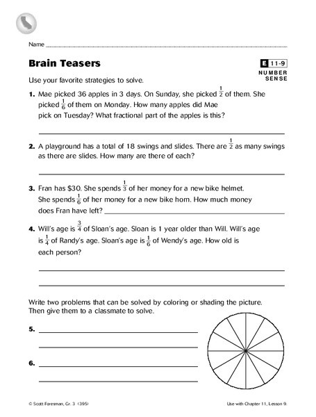 3rd Grade Brain Teasers Worksheets Brain Teasers Worksheet for 3rd 5th Grade