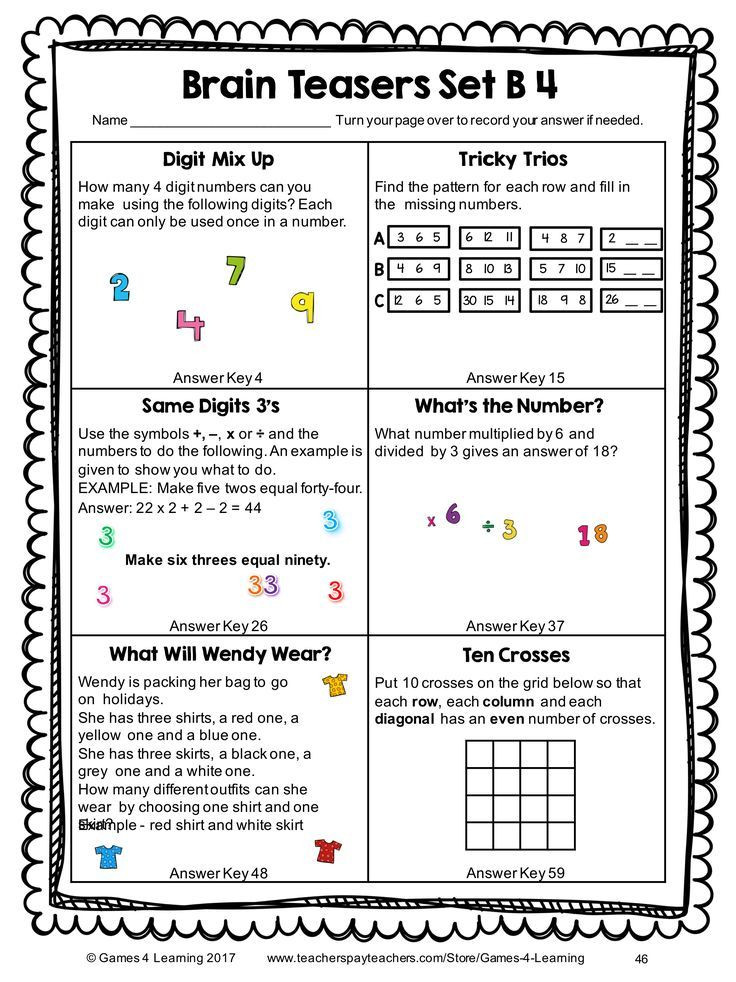 3rd Grade Brain Teasers Worksheets Math Task Cards Math Problems and Math Brain Teasers Cards