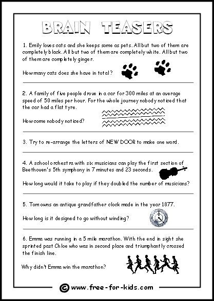 3rd Grade Brain Teasers Worksheets Thumbnail Image Brain Teaser Questions