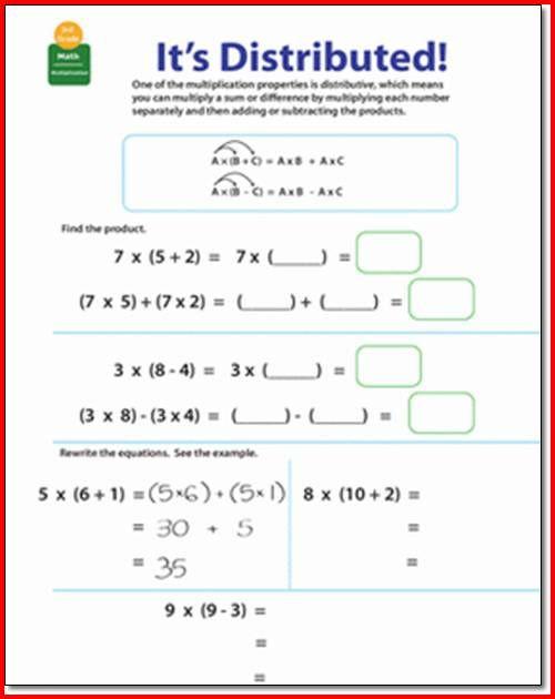 3rd Grade Distributive Property Worksheets Distributive Property Multiplication 3rd Grade