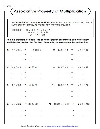 3rd Grade Distributive Property Worksheets Properties Of Multiplication Worksheets
