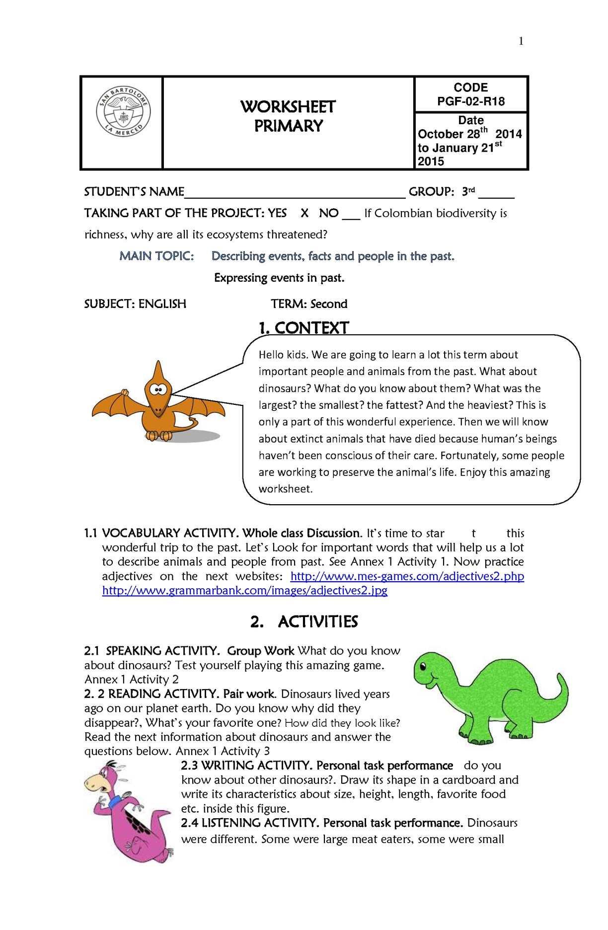 3rd Grade Ecosystem Worksheets Calaméo Worksheet Third Grade Second Term
