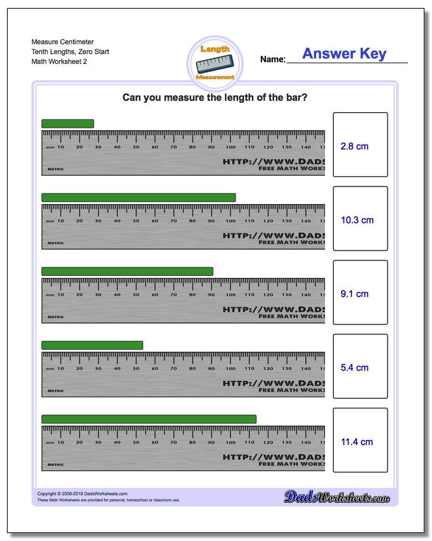 3rd Grade Math Measurement Worksheets Measure Centimeters From Zero