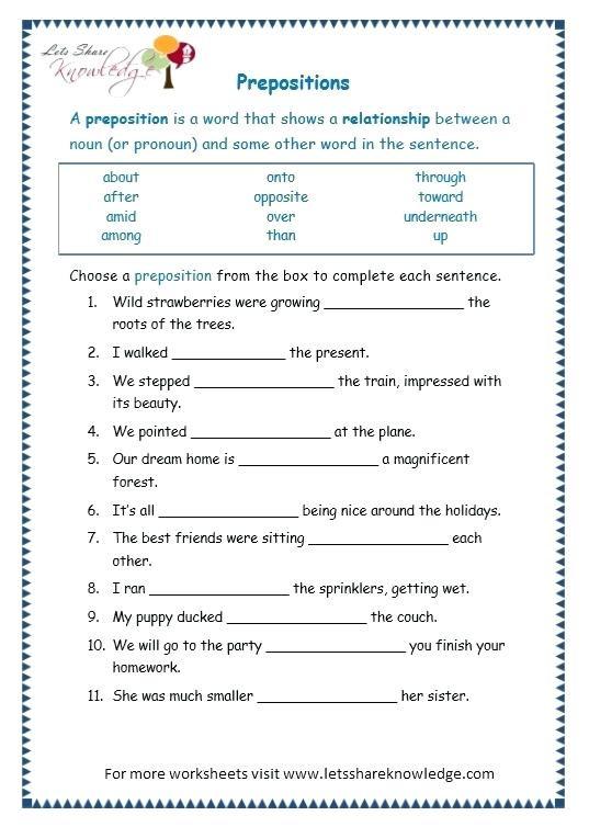 3rd Grade Preposition Worksheets English Grammar Exercises Printable Worksheets