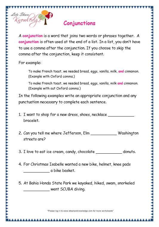 3rd Grade Preposition Worksheets Grade 3 Grammar topic 19 Conjunctions Worksheets