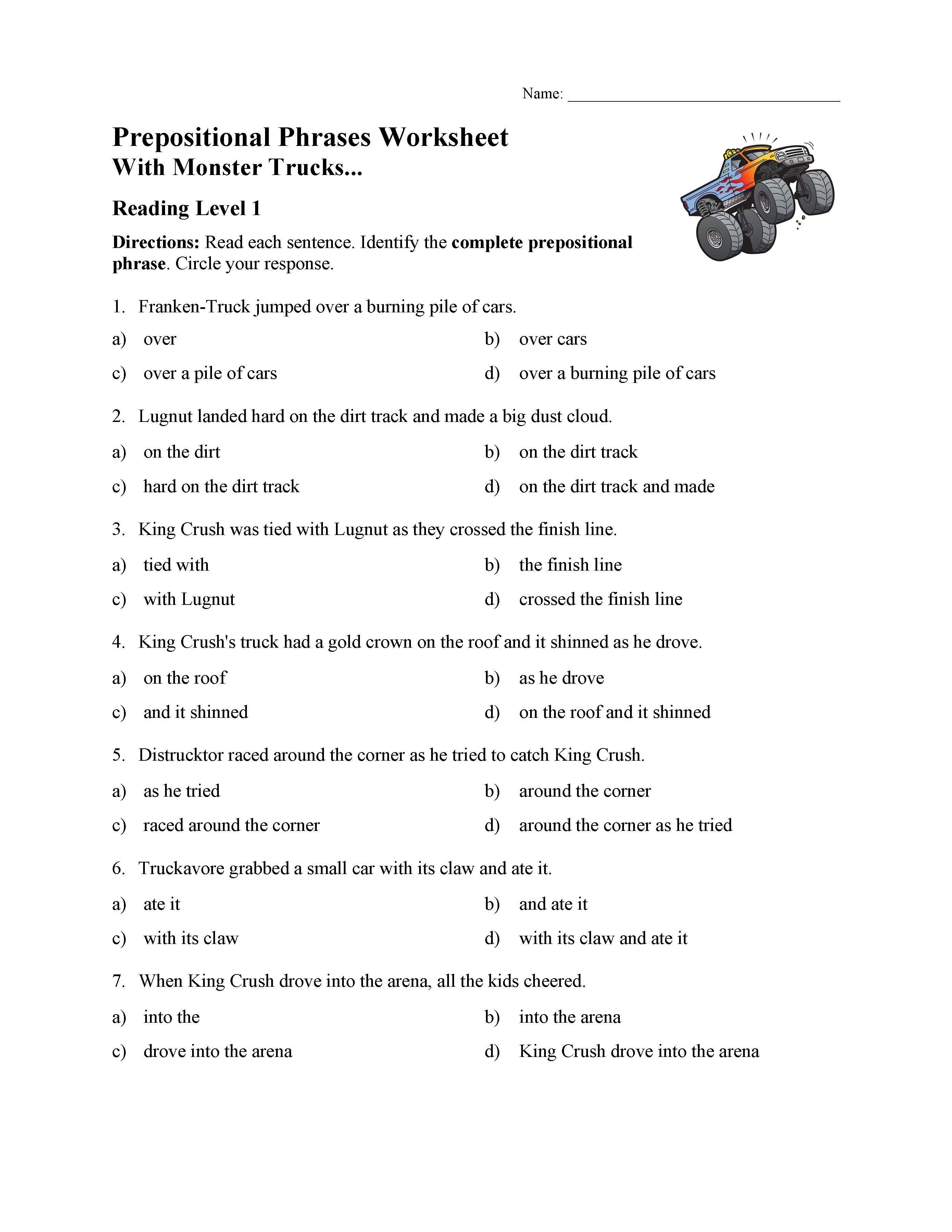 3rd Grade Preposition Worksheets Prepositional Phrases Worksheet 1 Reading Level 1