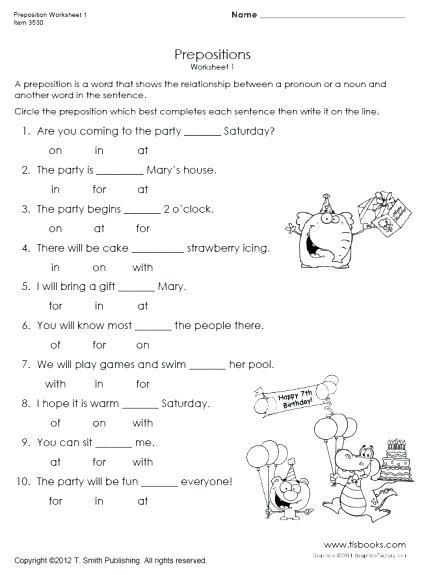 3rd Grade Preposition Worksheets Prepositions Practice Worksheet Preposition Practice