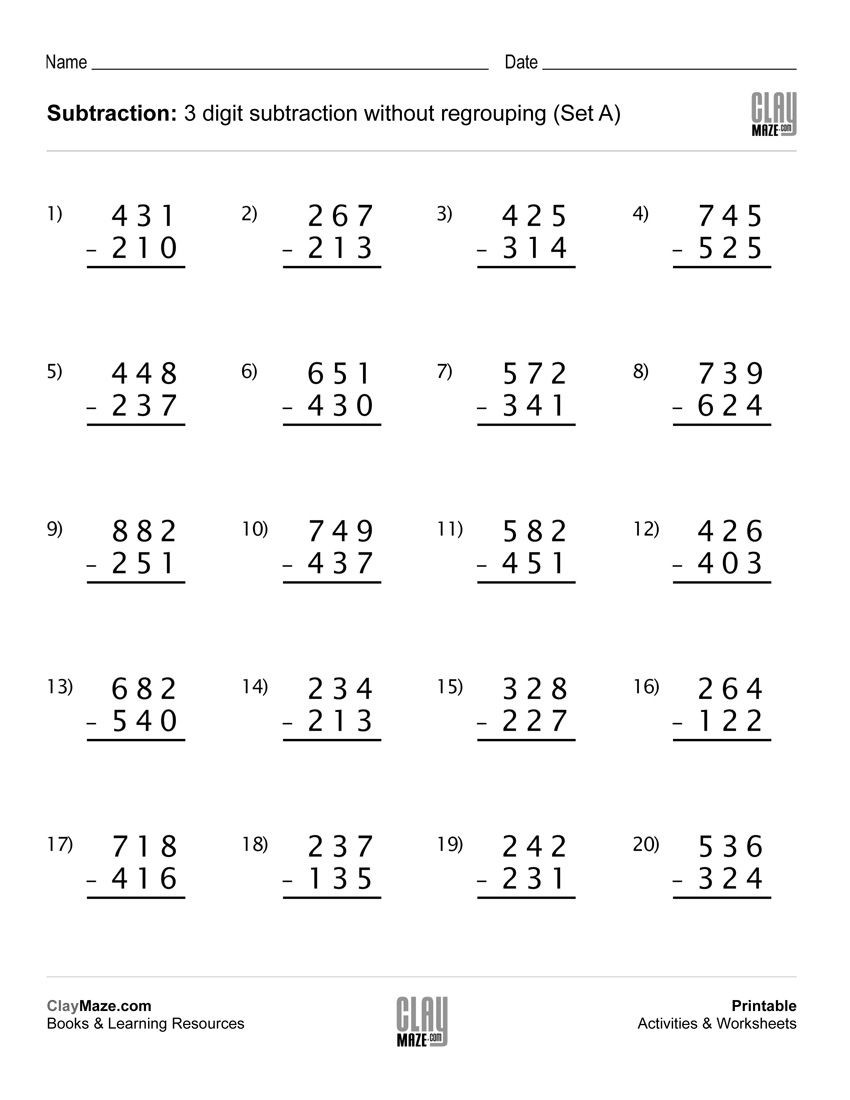 3rd Grade Regrouping Worksheets Subtraction Worksheet – 3 Digit Subtraction without