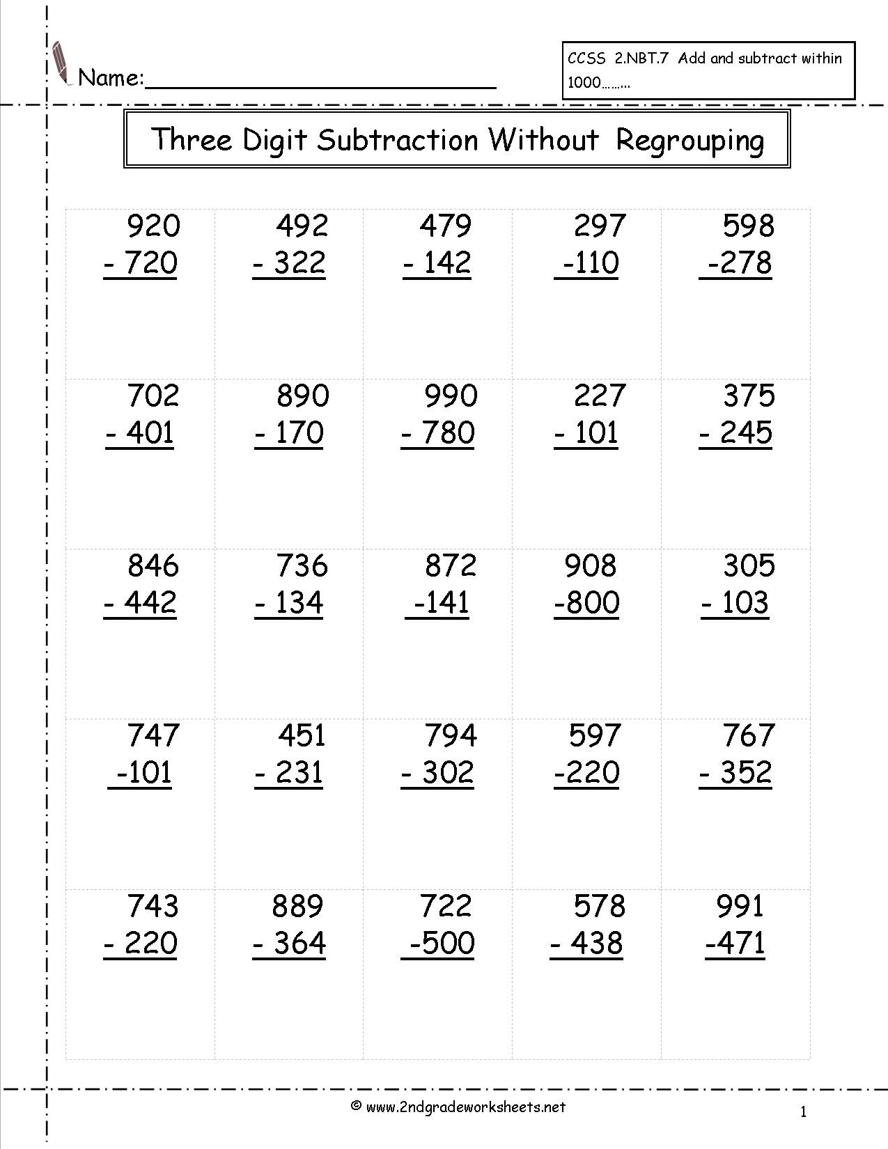3rd Grade Regrouping Worksheets Three Digit Subtraction Worksheets