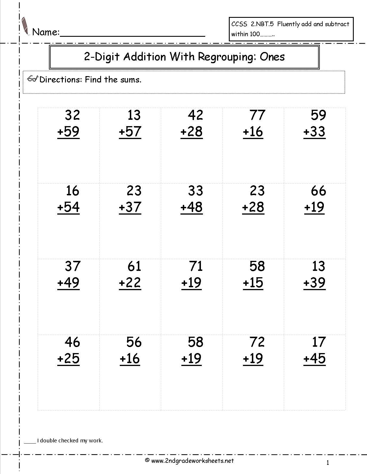 3rd Grade Regrouping Worksheets Two Digit Addition with Regrouping Ones to Tens Place