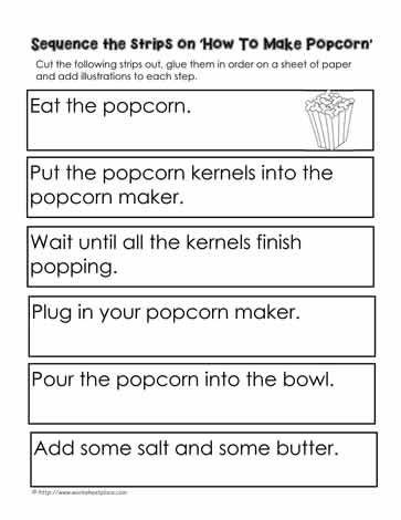 3rd Grade Sequencing Worksheets Procedure How to Make Popcorn