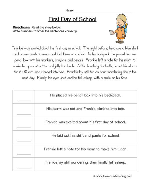 3rd Grade Sequencing Worksheets Sequencing Worksheets • Have Fun Teaching