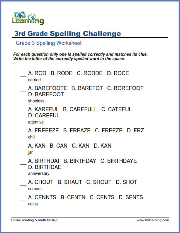 3rd Grade Spelling Worksheets Spelling Worksheets for Grade 3