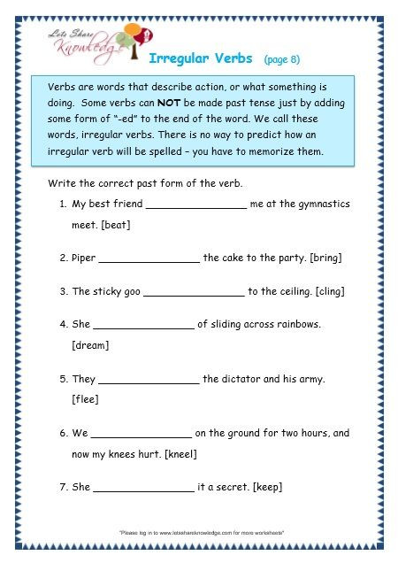 3rd Grade Verb Tense Worksheets Grade 3 Grammar topic 39 Irregular Verbs Worksheets