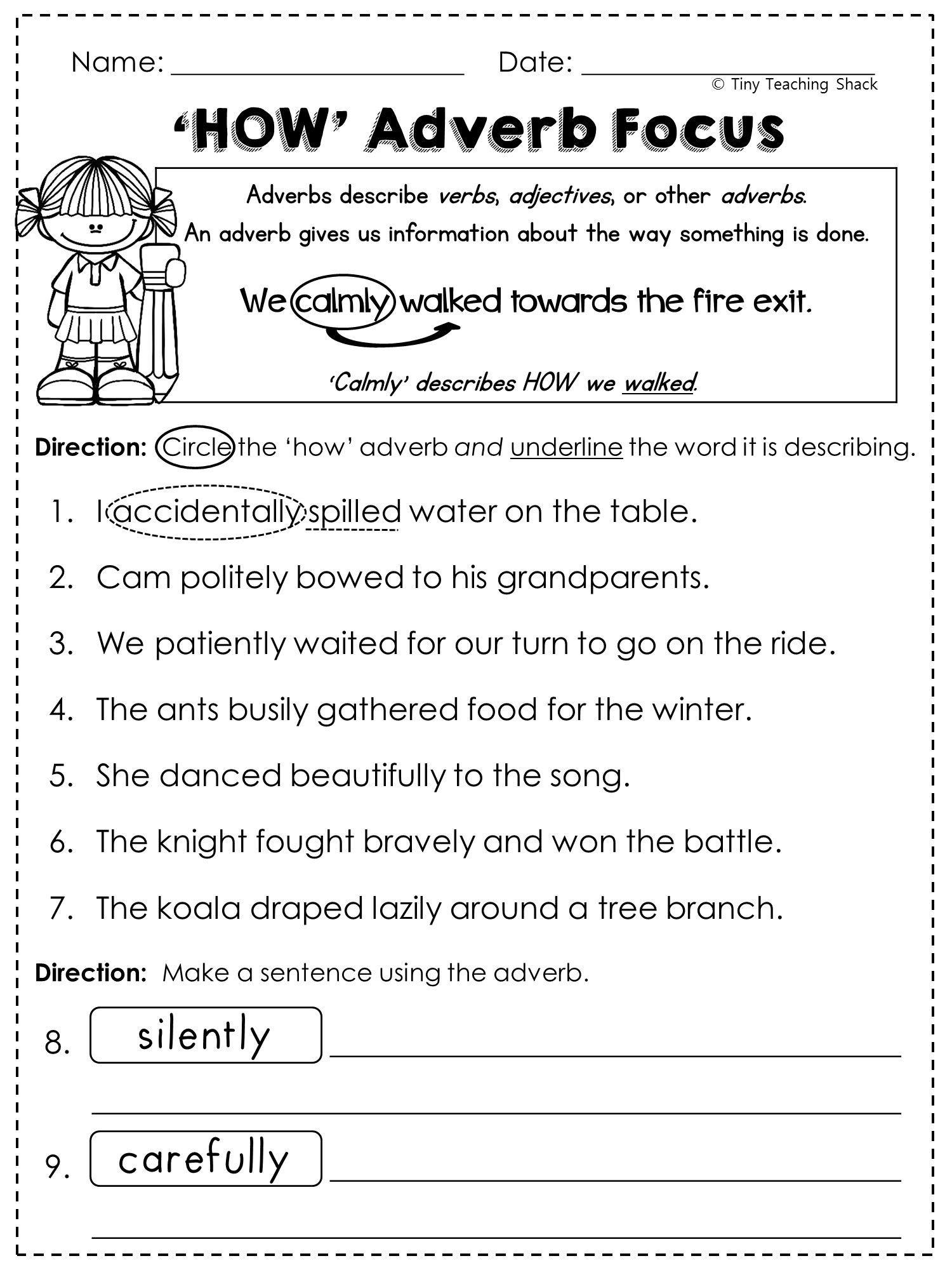4th Grade Adverb Worksheets 2nd Grade Language Arts and Grammar Practice Sheets Freebie