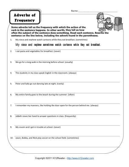 4th Grade Adverb Worksheets Adverbs Of Frequency