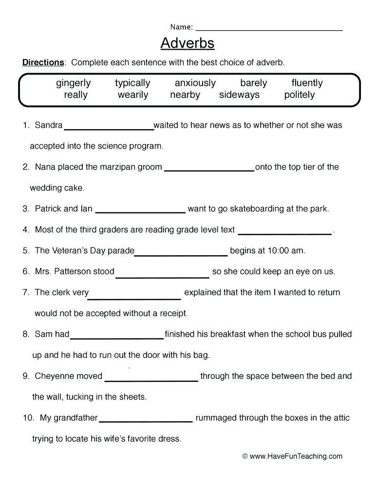 4th Grade Adverb Worksheets Adverbs Worksheets Adverb Printable Worksheets 4th Grade