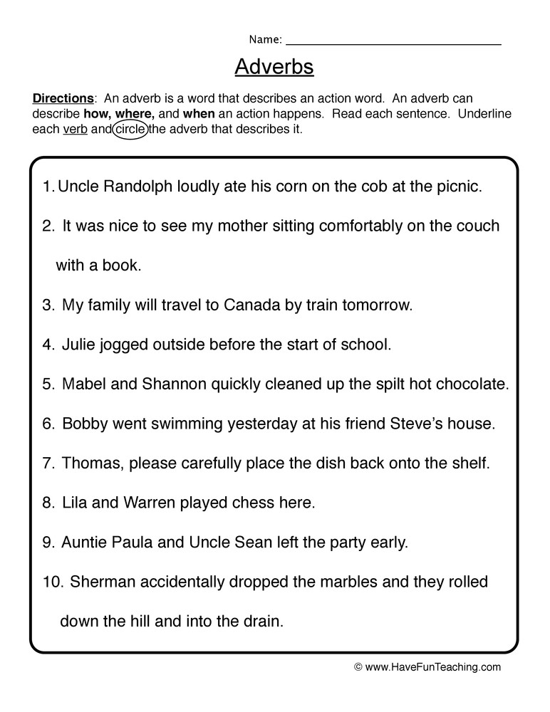 4th Grade Adverb Worksheets Circle & Underline Adverb Worksheet
