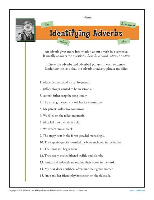 4th Grade Adverb Worksheets Identifying Adverbs