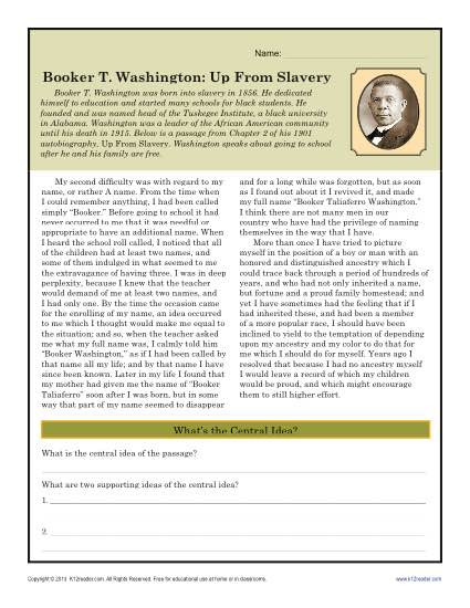 4th Grade History Worksheets Booker T Washington Up From Slavery