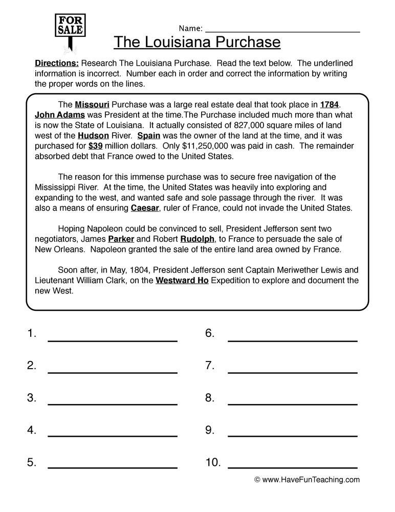4th Grade History Worksheets Louisiana Purchase Worksheet