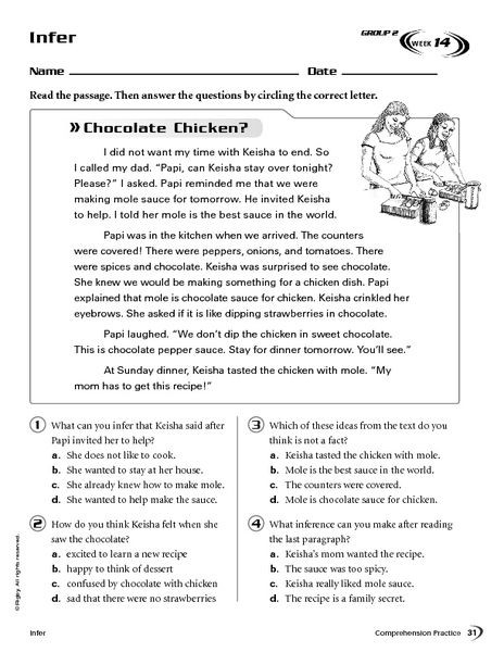 4th Grade Inferencing Worksheets Infer Chocolate Chicken Worksheet for 4th 5th Grade