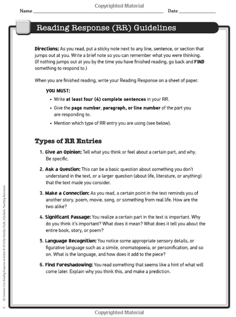 4th Grade Reading Response Worksheets 5 Reading Response Activities to Invite Higher Thinking