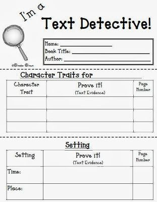 4th Grade Reading Response Worksheets Fern S Freebie Friday I M A Text Detective Reading