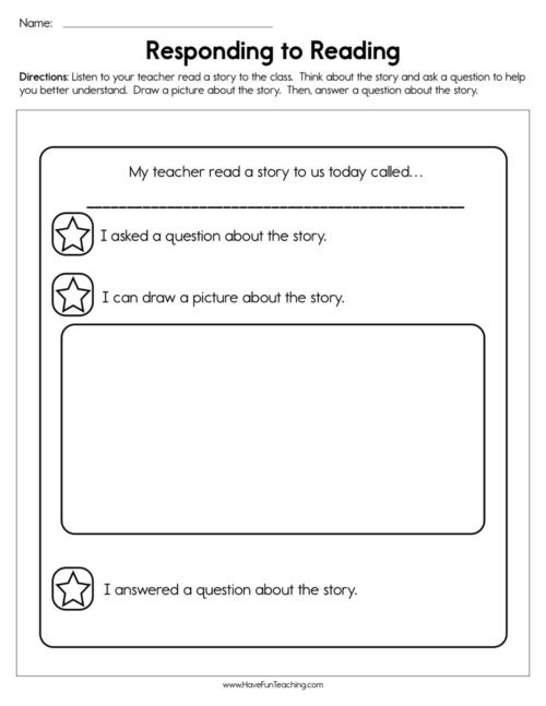 4th Grade Reading Response Worksheets Reading Response Worksheets • Have Fun Teaching