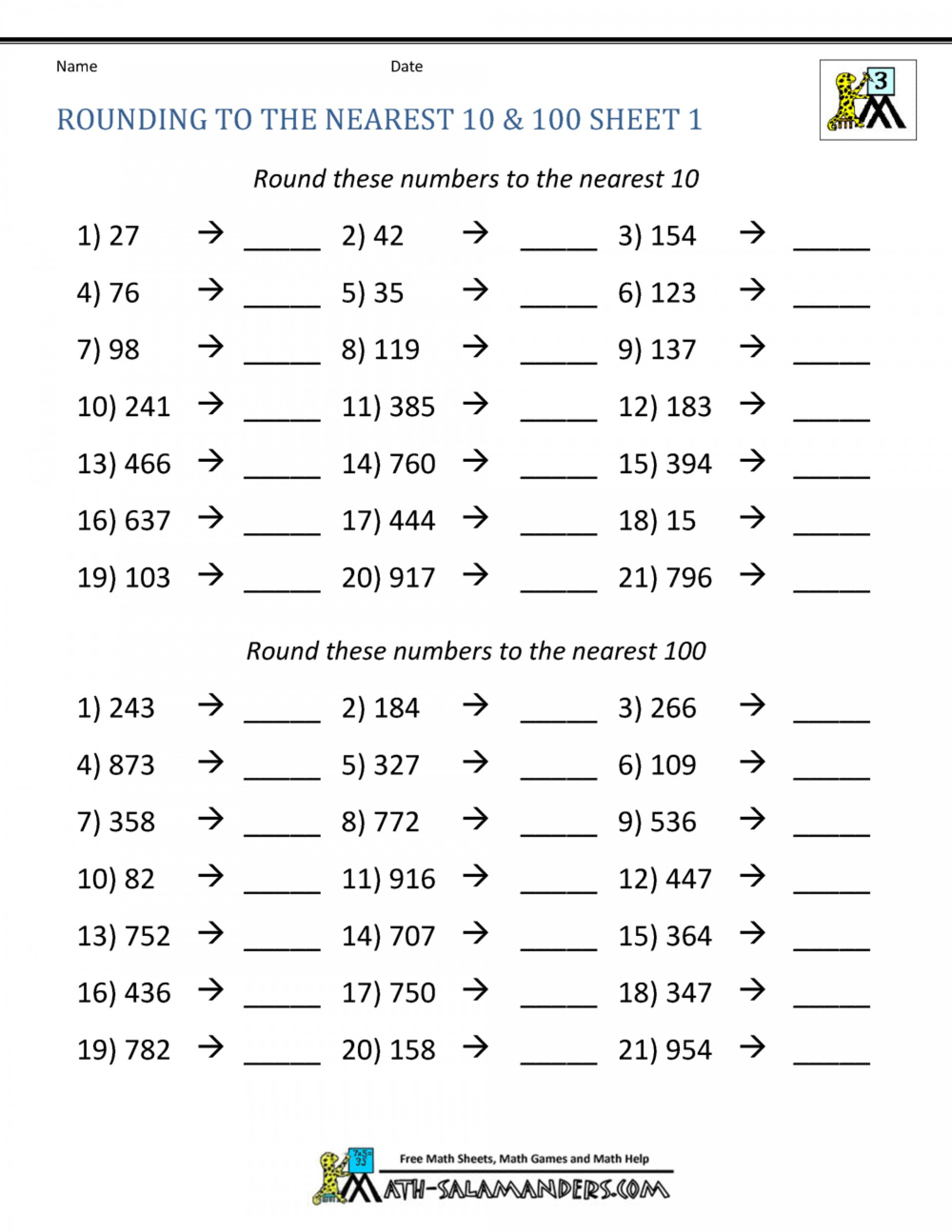 4th Grade Rounding Worksheets Math Rounding Worksheet Third Grade