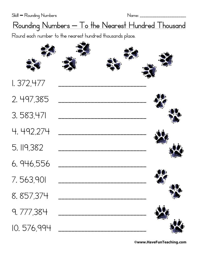 4th Grade Rounding Worksheets Rounding to the Nearest Hundred Thousand Worksheet